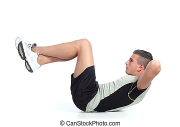Man building abdominals - Man doing crunches isolated on a...