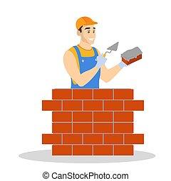Man building brick wall. Construction worker in a uniform