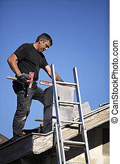 Man building chimney