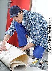 man building contractor floor