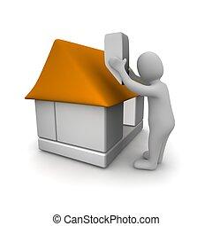 Man building house. 3d rendered illustration.