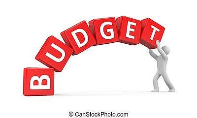Man builds a budget - 3D white man trying to keep the budget
