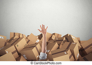 Man buried by a stack of cardboard boxes. 3D Rendering - Man...