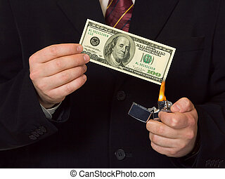 Man burnning the money, business concept
