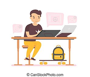 Man business character working for graphic tablet and computer on white background