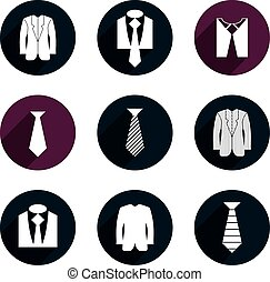 Man business clothes vector icons set.