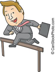 Man Business Overcome Obstacle Illustration
