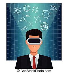 man business wearing augmented reality device background...
