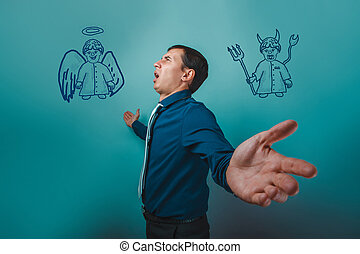 man businessman arms outstretched looking up with an angel...