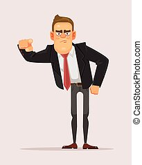 Man businessman boss office worker pointing finger on you. Making choice. Vector flat cartoon illustration