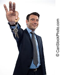 Man Businessman realtor offering keys - man businessman...