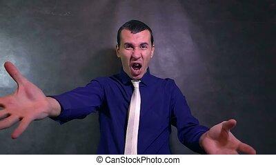 man businessman swears an evil devil shouts problem stress...