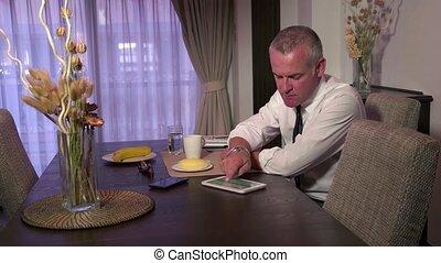 Man Businessman Using Ipad Tablet