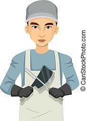 Illustration of a Man Wearing Butcher Uniform with Apron and Cap Holding Chopping Knife and Sharpening Steel