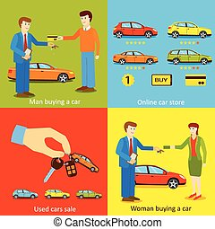 Man buying a car, Woman buying a car, Online car store, Used cars sale vector illustrations.