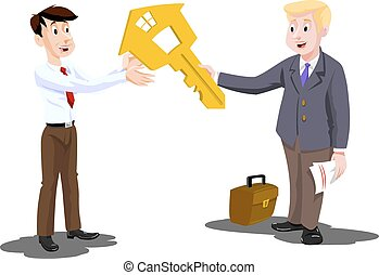 Man Buying a House, Real Estate Agent Handing Over the Key, vector illustration