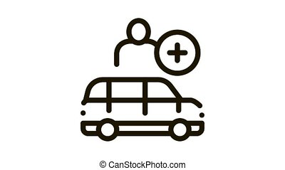 Man Buying Car Icon Animation. black Man Buying Car animated icon on white background