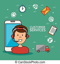 Man call center service speaking by phone, icons smarphone