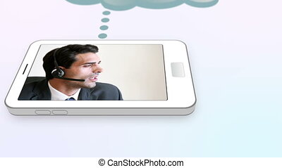 Man calling a help centre