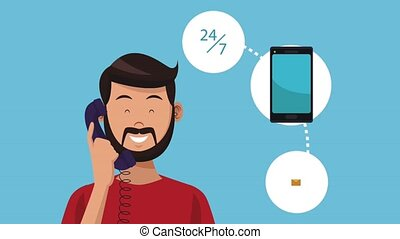 Man calling to call center HD animation - Man calling to...