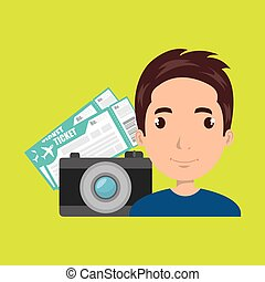 man camera tickets travel