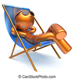 Man carefree relaxing chilling beach deck chair outdoor icon...