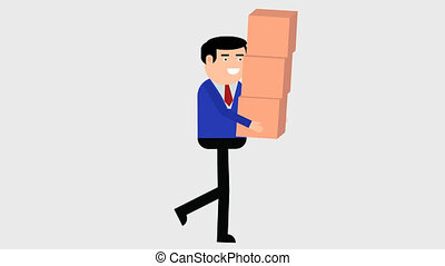Man carries a box, cycle of walking
