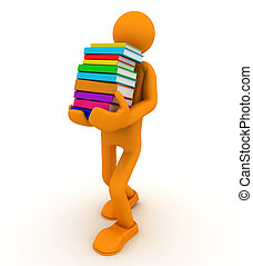 Man carries a stack of books.