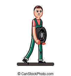 Man carries the tire. Vector illustration, EPS 10