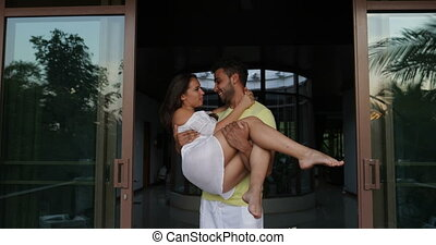 Man Carry Woman Outdoors On Terrace, Happy Couple In Love...