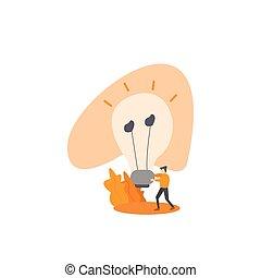 Man carrying a big bulb. New idea concept