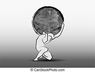 man carrying a big stone icon, hand drawing line style, logo design strength concept, vector isolated on grey background