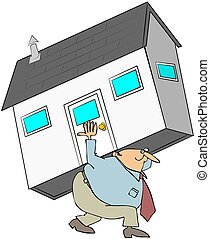 Man Carrying A House On His Back