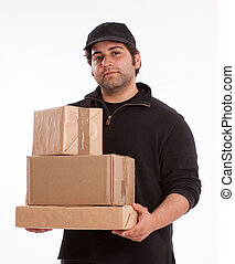 Man carrying a pile of packages