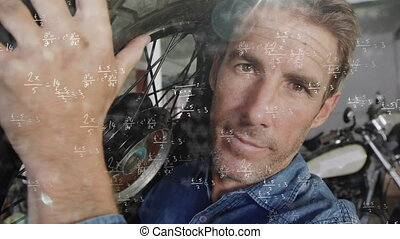 Animation of mathematical equations with man carrying wheel of his motorbike on his back. Digital composite video.