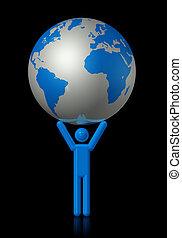 Man carrying a world globe