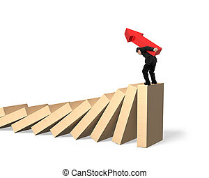 Man carrying arrow symbol standing on falling dominoes