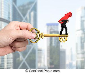Man carrying arrow up balancing on key in dollar sign