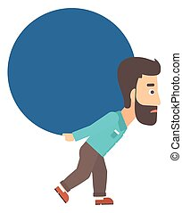 Man carrying big ball.
