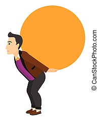 A tired caucasian man carrying a big ball on his back vector flat design illustration isolated on white background. Vertical layout.