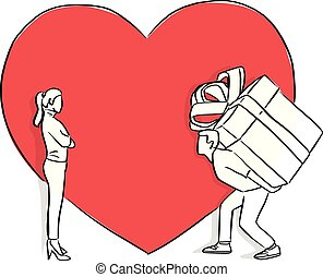 man carrying big gift for his lover in the background of red heart shape vector illustration sketch doodle hand drawn with black lines isolated on white background