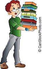 Man Carrying Books, illustration