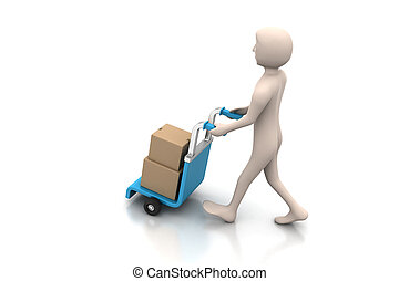 man carrying boxes with a trolley