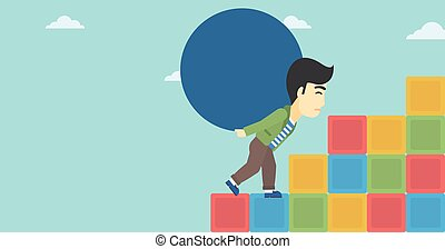 Man carrying concrete ball uphill.