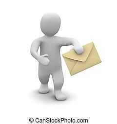 Man carrying envelope with letter. 3d rendered illustration.