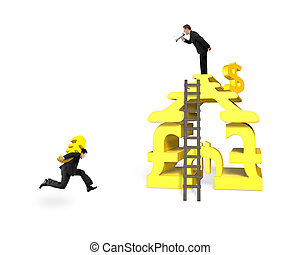 Man carrying Euro for money stacking building with leader shouting