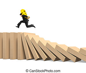 Man carrying Euro symbol running on falling dominoes