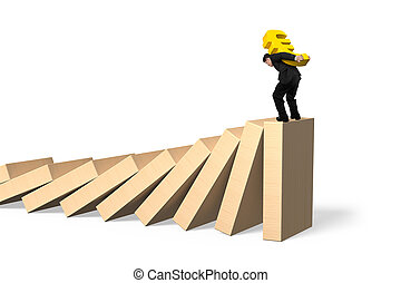 Man carrying Euro symbol standing on falling dominoes