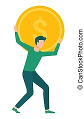 Man Carrying Golden coin with Dollar Sign on Back