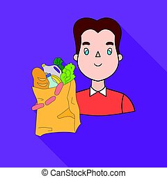 Man carrying grocery paper bag full of food icon in flate style isolated on white background. Supermarket symbol stock vector illustration.